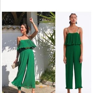 ZARA EMERALD GREEN PLEATED ROMPER/JUMPSUIT BNWT